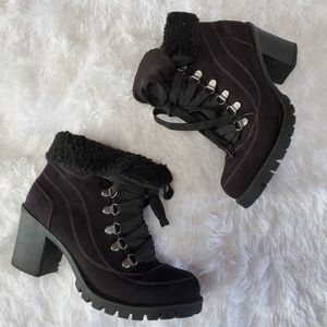 JELLYPOP LEAL BLACK FAUX SUEDE CHUNK HEEL BOOTS